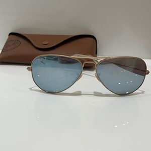 Silver and gold aviator ray bans